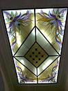 1-25 Потолочный витраж «Орхидеи» с центральным элементом соответствующим плитке на полу холла - Витражные потолки, витражи на потолок (потолочные витражи)