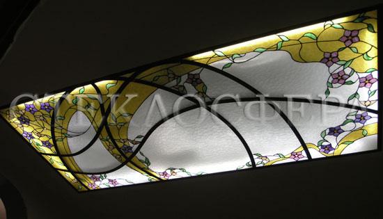 Витражные потолки, витражи на потолок (потолочные витражи). Витраж в стиле модерн в алюминиевой раме