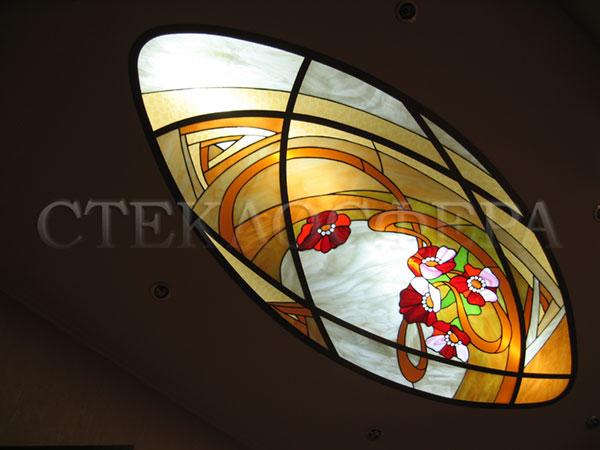 Витражные потолки, витражи на потолок (потолочные витражи). Плафон «Маки» - витраж в алюминиевой раме
