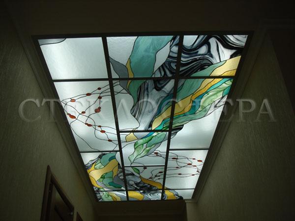 Витражные потолки, витражи на потолок (потолочные витражи). Витраж потолка с современным фантазийным рисунком