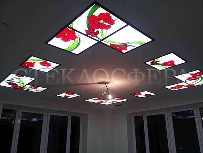 Витражные потолки, витражи на потолок (потолочные витражи). Витражный потолок с подсветкой