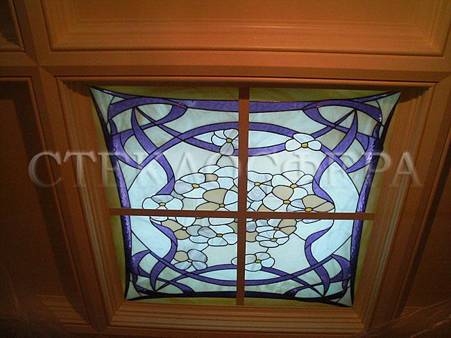 Витражные потолки, витражи на потолок (потолочные витражи). Витражный плафон «Подснежники»