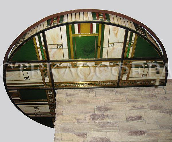 Витражные потолки, витражи на потолок (потолочные витражи). Витраж геометрического рисунка в латунной протяжке