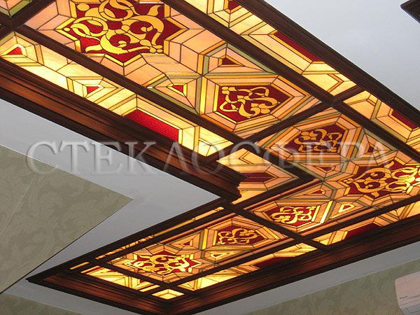 Витражные потолки, витражи на потолок (потолочные витражи). Кессонный потолок в объемном алюминиевом каркасе