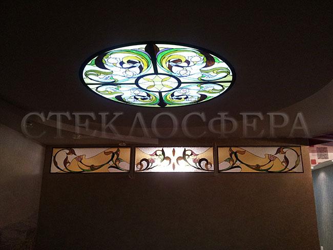 Витражные потолки, витражи на потолок (потолочные витражи). Витражный потолок «Цветочные узоры»