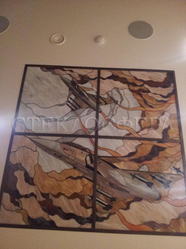 Витражные потолки, витражи на потолок (потолочные витражи). Витражный потолок из художественного стекла «Первым делом самолеты»