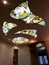 1-66 Витражный потолок «Круги», абстрактный витраж - Витражные потолки, витражи на потолок (потолочные витражи)