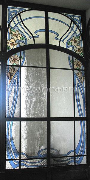 Стеклянные двери (с витражами), витражи для дверей на заказ в Москве. Витражная дверь с рисунком в стиле «Модерн»