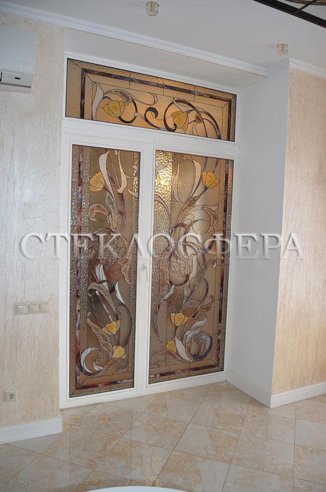 Стеклянные двери (с витражами), витражи для дверей на заказ в Москве. Двери с витражными вставками «Перламутровые цветы»