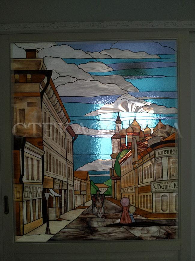 Стеклянные двери (с витражами), витражи для дверей на заказ в Москве. Витражные двери с вставками «Старая Москва»