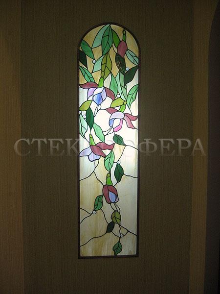 Оформление ниши, витраж в нишу, дизайн ниши в стене. Арочная ниша, рисунок «Орхидеи»