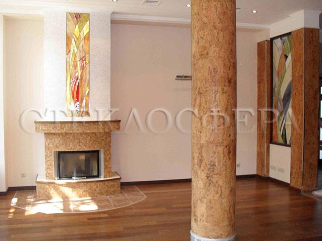 Оформление ниши, витраж в нишу, дизайн ниши в стене. Абстрактные витражи «пламя» в нишах над камином и в стене
