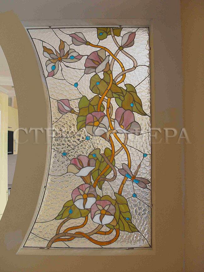 Оформление ниши, витраж в нишу, дизайн ниши в стене. Витраж «Вьюнок» на фактурном фоне