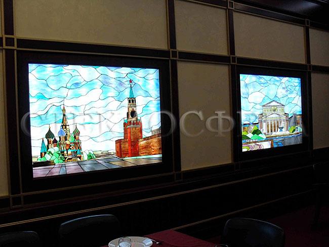 Оформление ниши, витраж в нишу, дизайн ниши в стене. Витражи «Виды Москвы» в представительском лобби