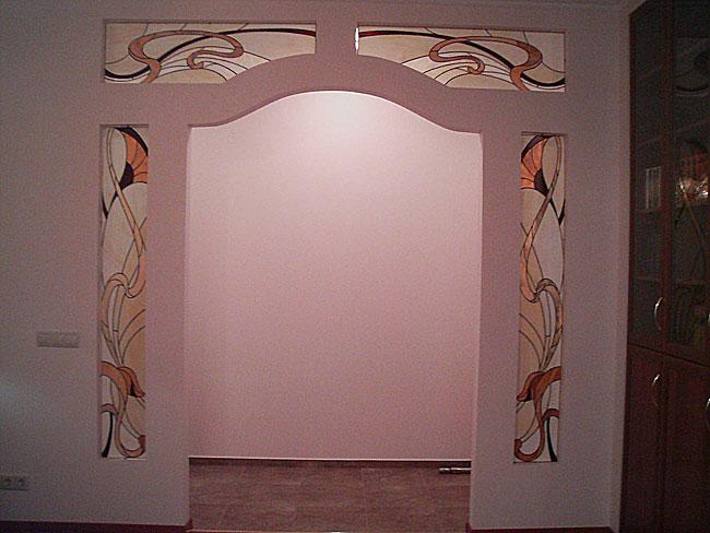 Оформление ниши, витраж в нишу, дизайн ниши в стене. Витражное оформление ниш портала в стиле Модерн