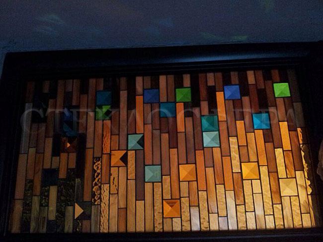 Оформление ниши, витраж в нишу, дизайн ниши в стене. Витражная ниша «Дождь из золота»