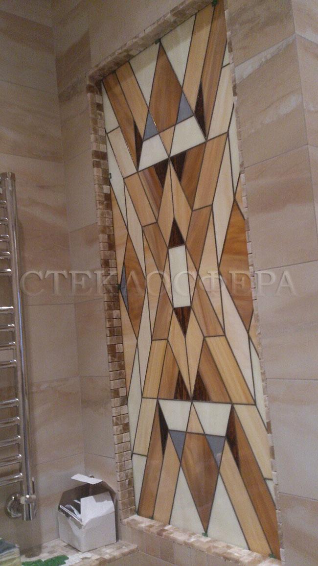 Оформление ниши, витраж в нишу, дизайн ниши в стене. Витражная ниша в ванной комнате «Оникс»