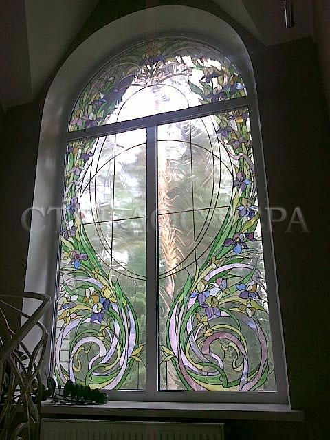 Витражи на окна. Купить витражные окна в Москве.  Витраж «Вихрь цветов» в стиле «Модерн»