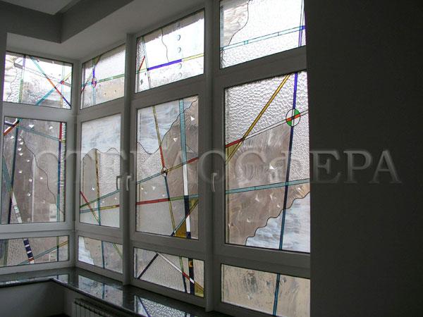 Витражи на окна. Купить витражные окна в Москве. Оконный витраж «Авангард» - художественное стекло