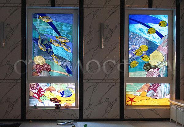 Витражи на окна. Купить витражные окна в Москве. Окно с витражным стеклом