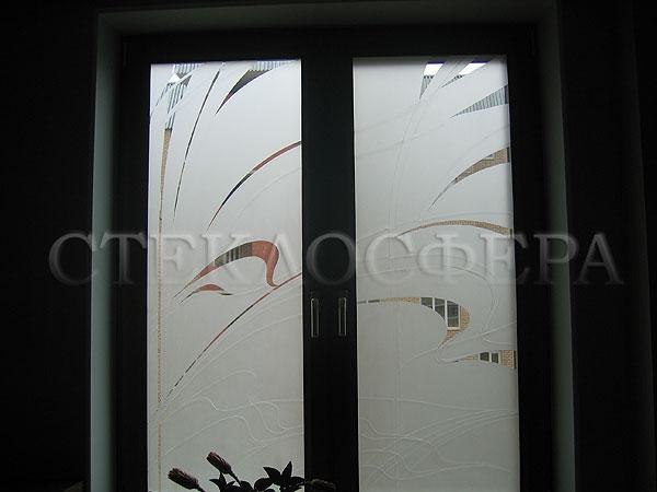 Витражи на окна. Купить витражные окна в Москве. Пескоструйный витраж