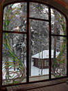 4-32 Витраж «Вальс цветов» из прозрачных стекол - Витражи на окна. Купить витражные окна в Москве