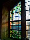 4-38 Витраж «Сад» на остеклении стены, витражное окно - Витражи на окна. Купить витражные окна в Москве