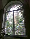 4-27 Оконный витраж «Вихрь цветов» - стиль «Модерн» - Витражи на окна. Купить витражные окна в Москве