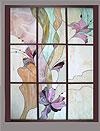 4-4 Интерьерное окно с витражами «Летящие орхидеи», витражное окно - Витражи на окна. Купить витражные окна в Москве
